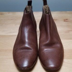 COLE HAAN |  BROWN SLIP-ON LEATHER BOOTIES, SZ 8B